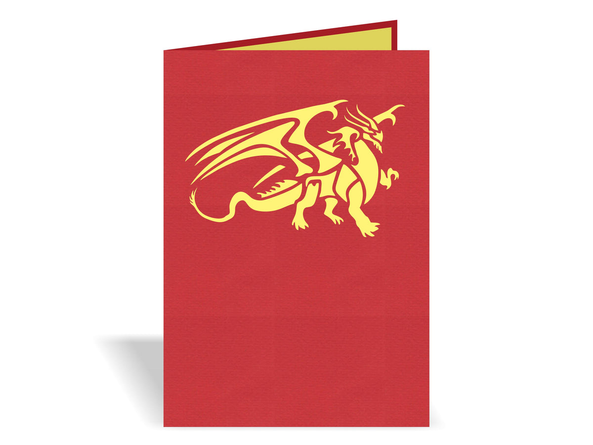 Red Dragon 3D Creative Pop Up Card - outside