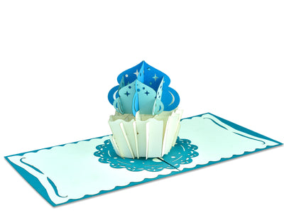Love Cupcake 3D Creative Pop Up Card - Blue