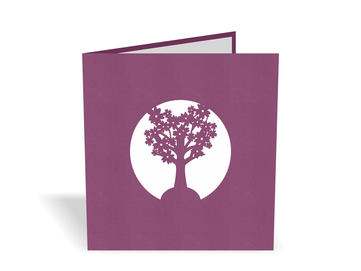 Pink Cherry Blossom Tree 3D Creative Pop Up Card - closed