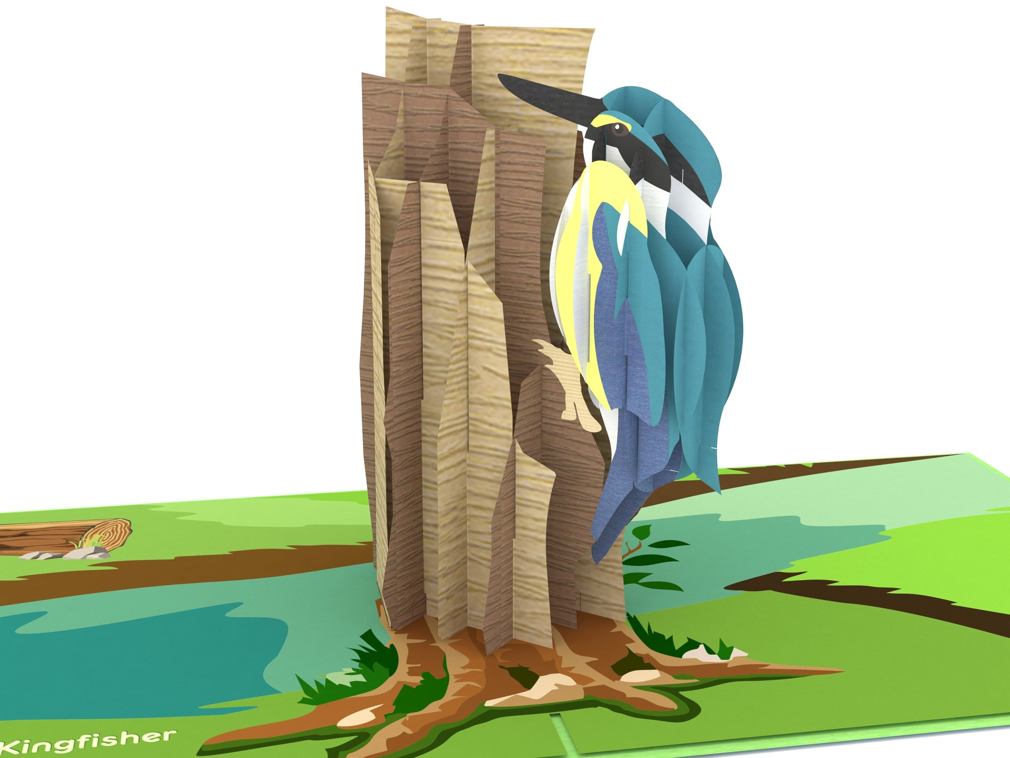 New Zealand Sacred kingfisher 3D Creative Popcard