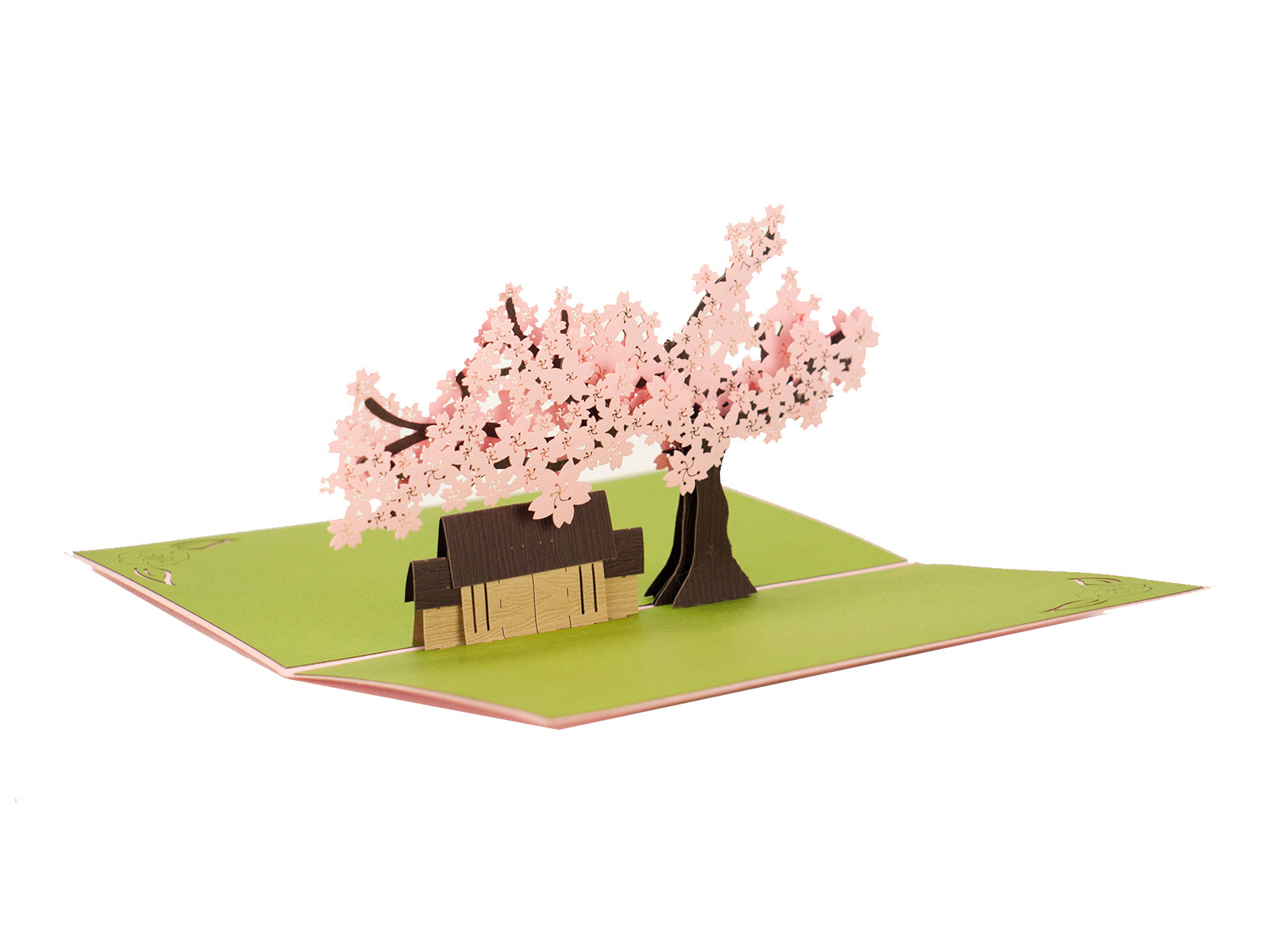 Cherry Blossom with a House 3D Creative Popcard