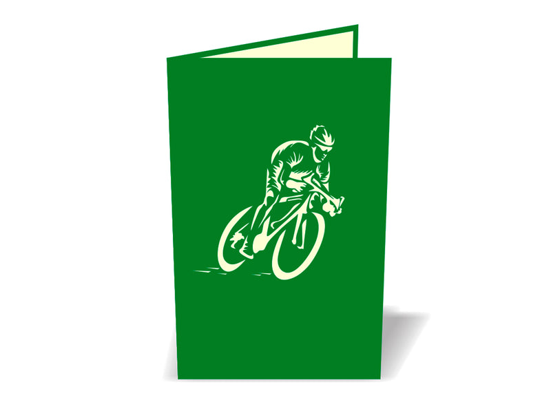 Man Riding Bicycle 3D Pop Up Card - Yellow