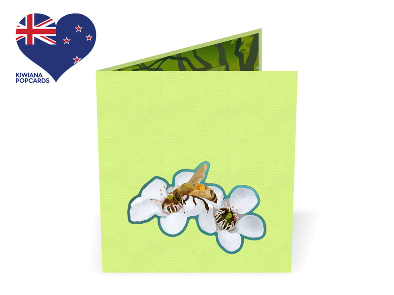 Bees and Manuka Flower Popcard