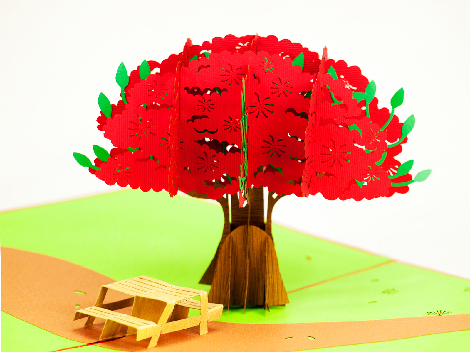 New Zealand Pohutukawa Tree with Picnic Bench Popcard