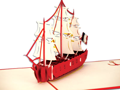 Ship with French Flag Popcard