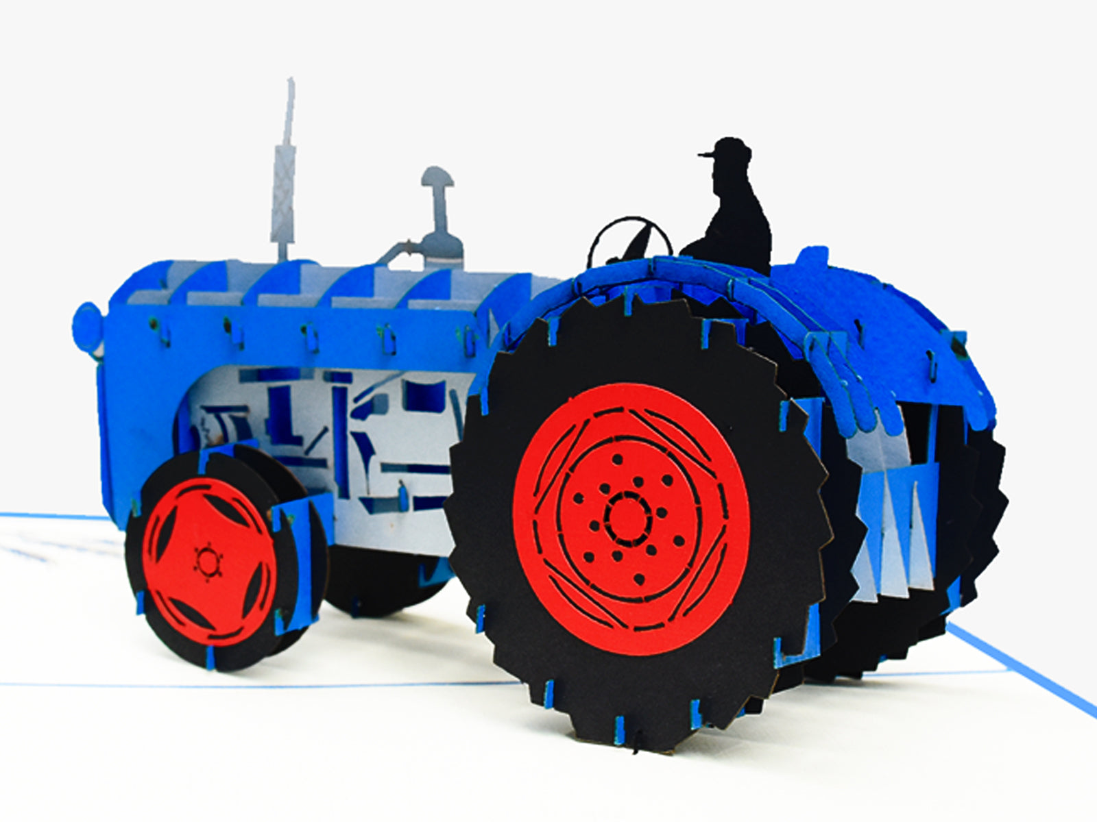 Blue Tractor 3D Creative Pop Card - close up