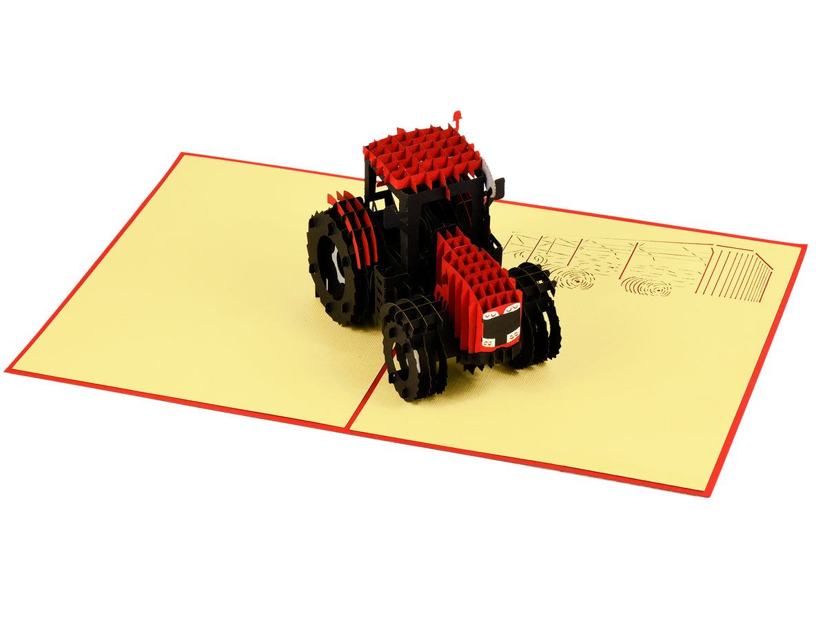 Modern Red Tractor 3D Creative Pop Up Card - alternate view