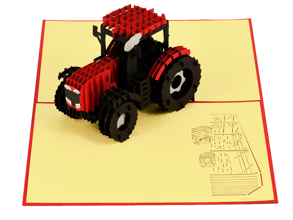Modern Red Tractor 3D Creative Pop Up Card - side view