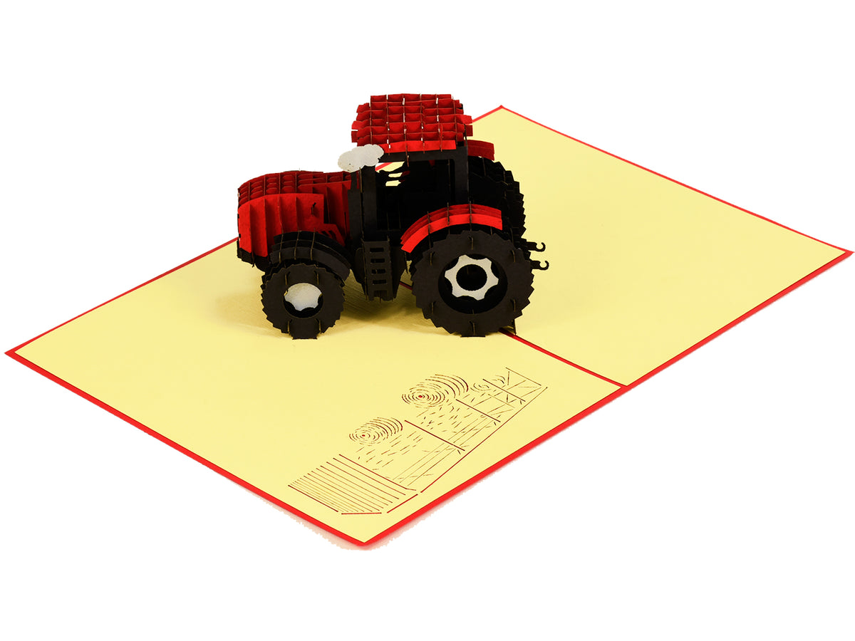 Modern Red Tractor 3D Creative Pop Up Card - side view 2