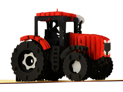 Modern Red Tractor 3D Creative Pop Up Card - close up 1