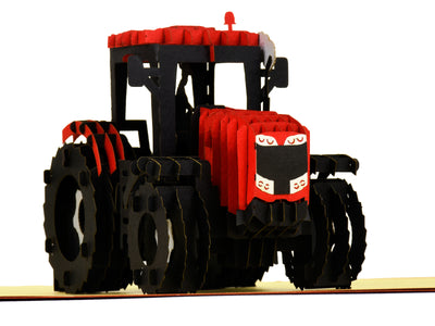 Modern Red Tractor 3D Creative Pop Up Card - close up 2
