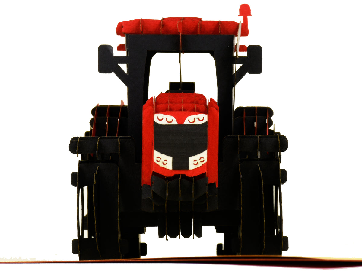 Modern Red Tractor 3D Creative Pop Up Card - close up 3
