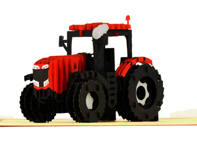Modern Red Tractor 3D Creative Pop Up Card - close up 4