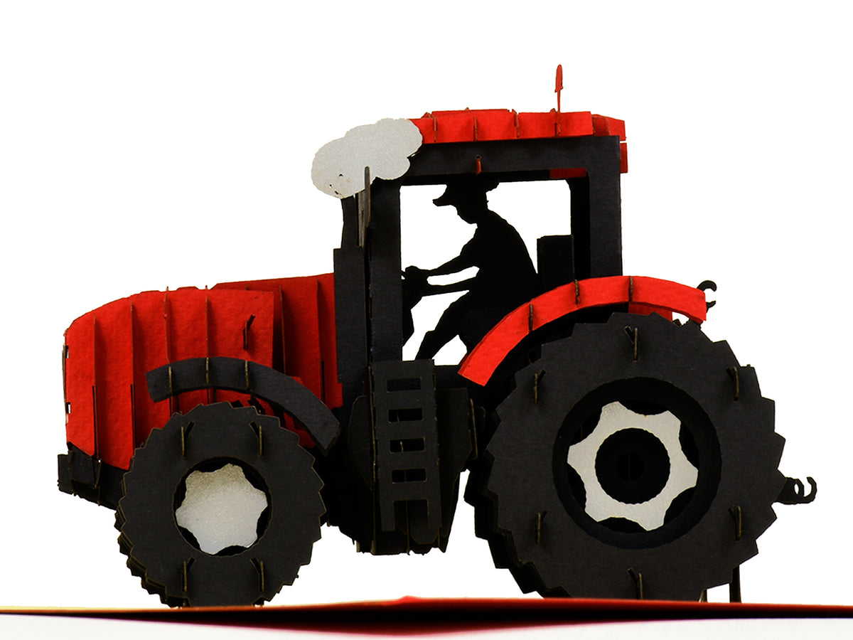 Modern Red Tractor 3D Creative Pop Up Card - close up 5