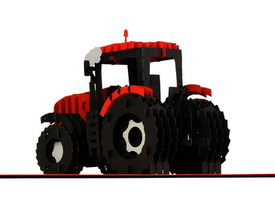 Modern Red Tractor 3D Creative Pop Up Card - close up 6