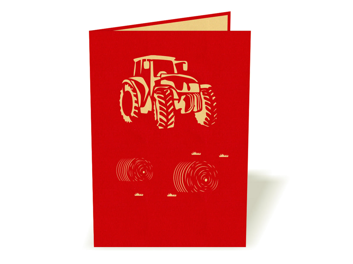 Modern Red Tractor 3D Creative Pop Up Card - outside