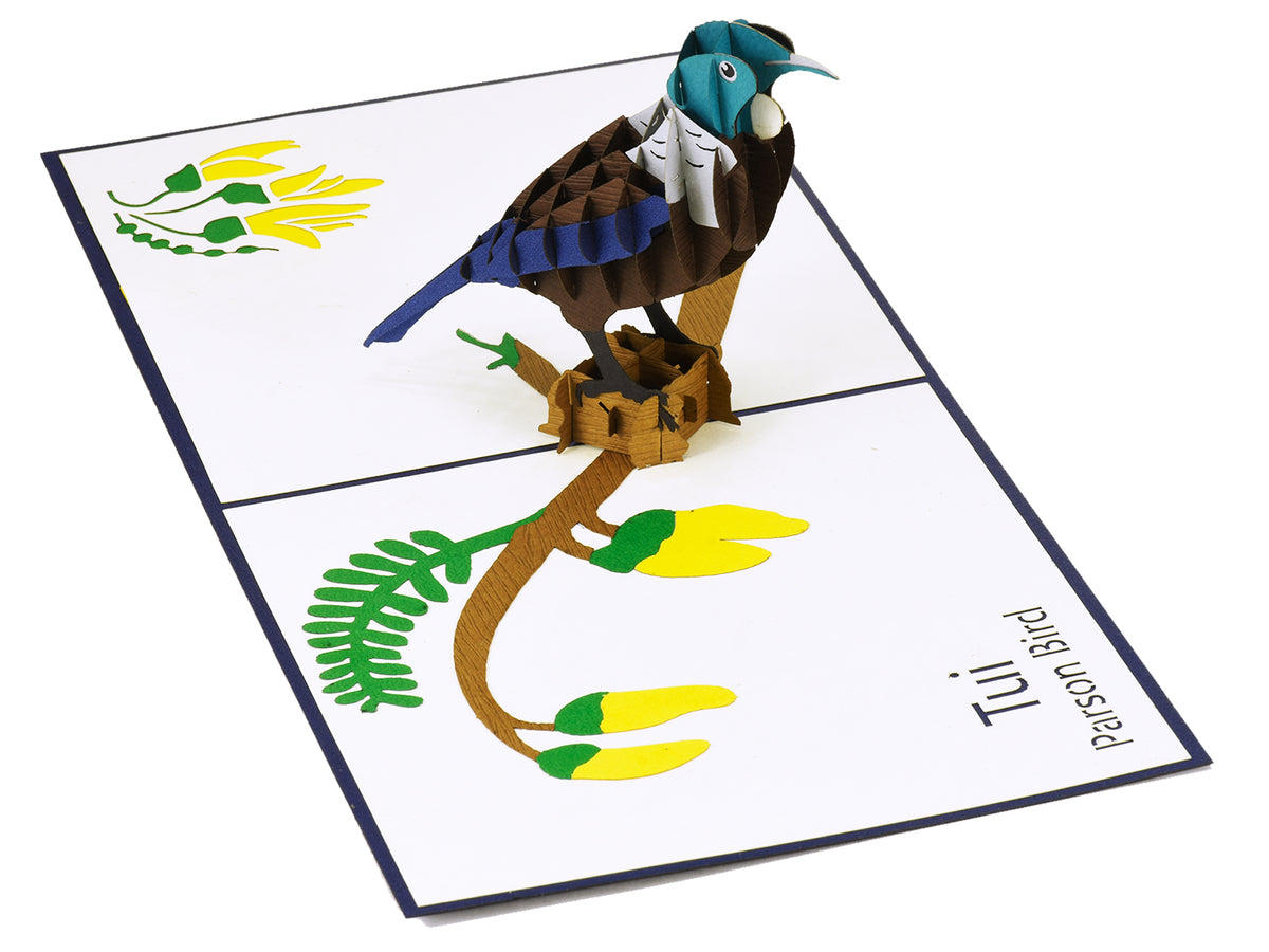 New Zealand Tui 3D Creative Pop Up Card - reverse view