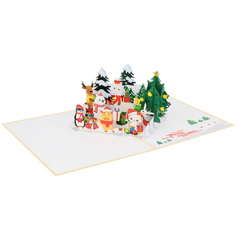 Arctic Christmas Animals Pop Card