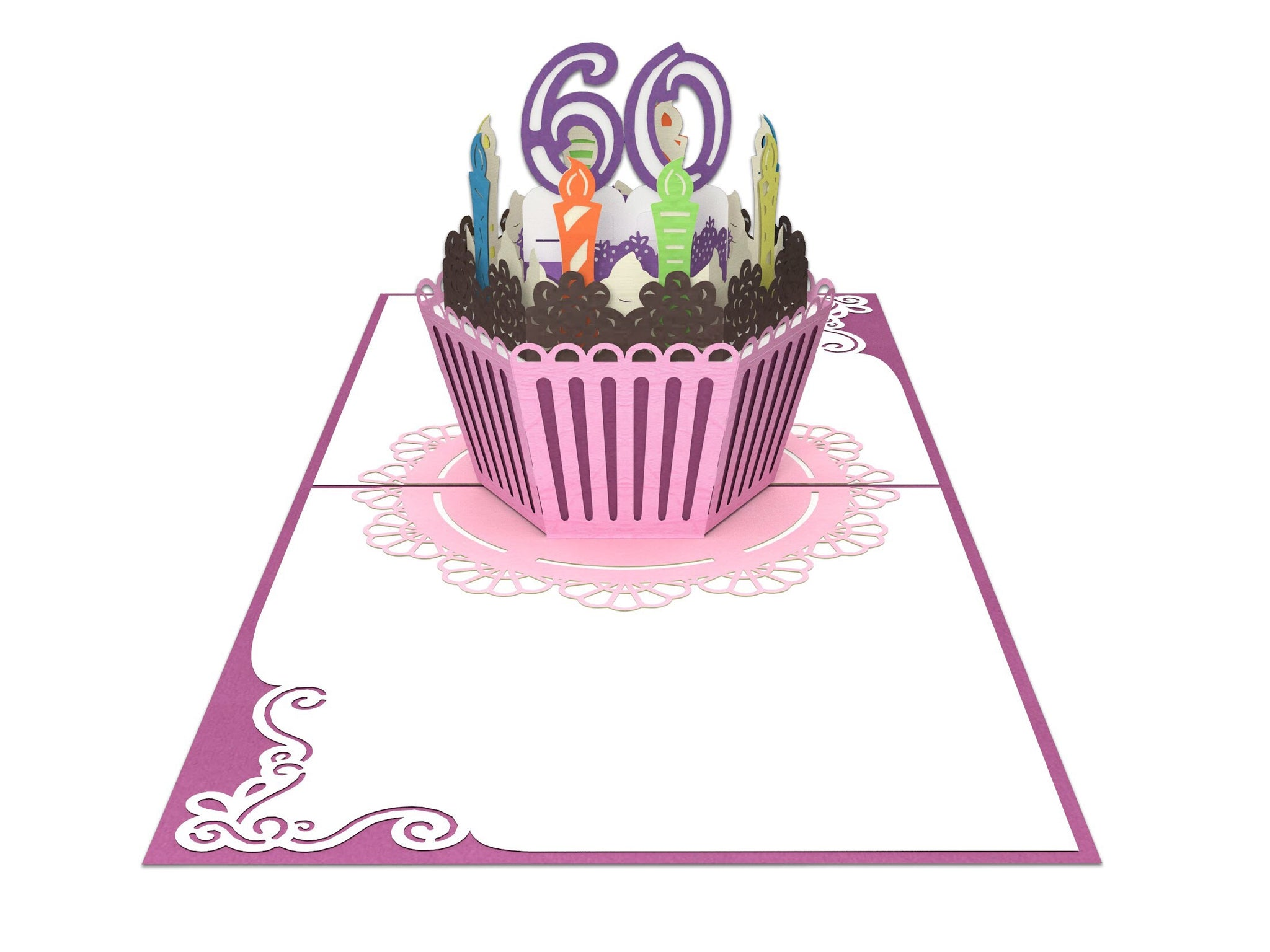60th Birthday Cake For Her 3D Creative Popcards