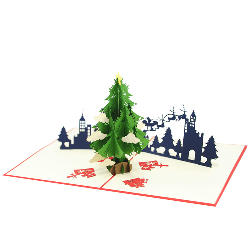 Christmas City night Pop Card - Snow Flakes