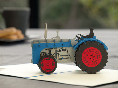 Blue Tractor 3D Creative Pop Card