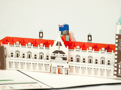 Dunedin Railway Station 3D Pop-Up Card - Close up