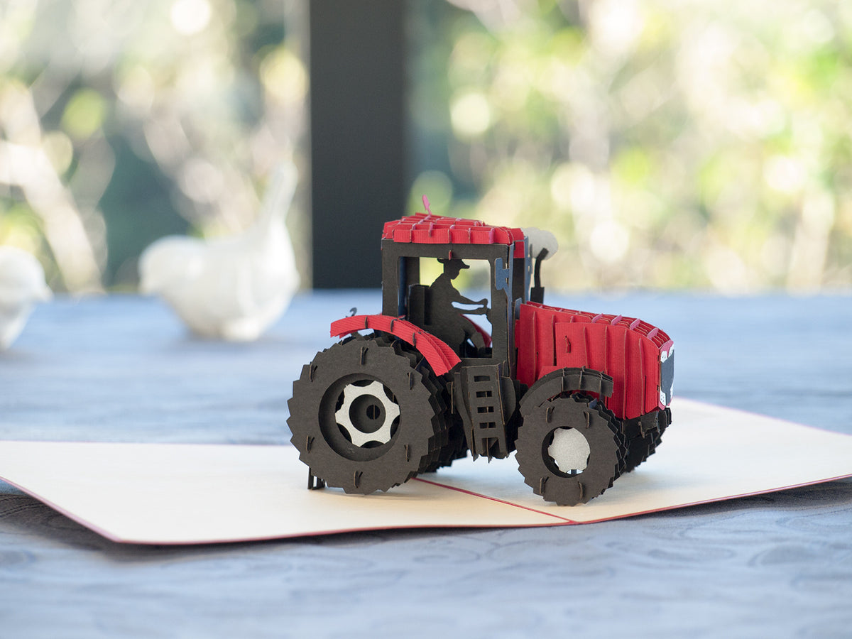 Modern Red Tractor 3D Creative Pop Up Card