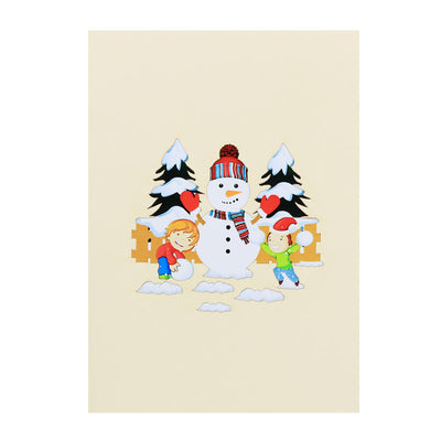Snowman With Kids Pop Card