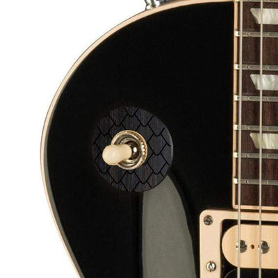 GibsonbyThalia Custom Parts Gibson Accessories Les Paul Toggle Switch Washer | Genuine Exotic Wood & Shell Ebony Dragon Scales / Ebony