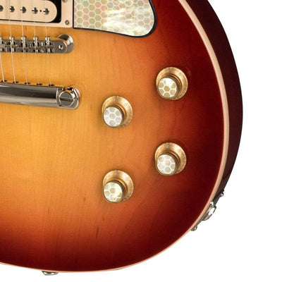 GibsonbyThalia Custom Parts Gibson Exotic Wood & Shell Gold Top Hat Knobs | Gibson Custom Parts Save the Bees Honeycomb / Cherry Sunburst