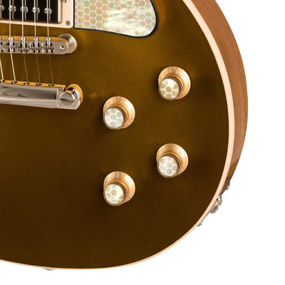GibsonbyThalia Custom Parts Gibson Exotic Wood & Shell Gold Top Hat Knobs | Gibson Custom Parts Save the Bees Honeycomb / Goldtop