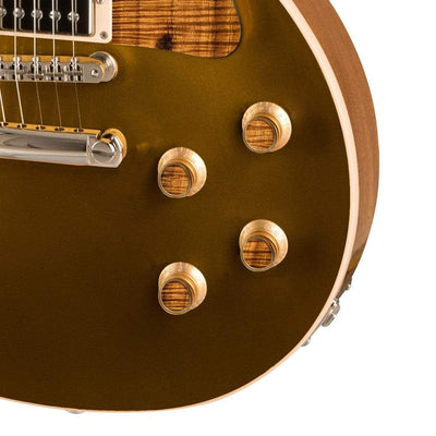 GibsonbyThalia Custom Parts Gibson Gold Top Hat Knobs With Exotic Wood & Shell  | Les Paul Custom Parts AAA Curly Koa / Goldtop