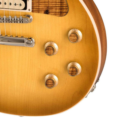 GibsonbyThalia Custom Parts Gibson Gold Top Hat Knobs With Exotic Wood & Shell  | Les Paul Custom Parts AAA Curly Koa / Honeyburst