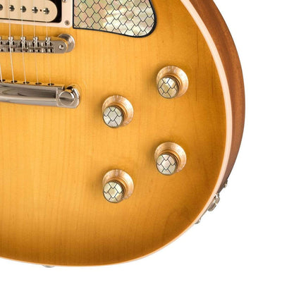 GibsonbyThalia Custom Parts Gibson Gold Top Hat Knobs With Exotic Wood & Shell  | Les Paul Custom Parts Vintage Dragon Scales / Honeyburst
