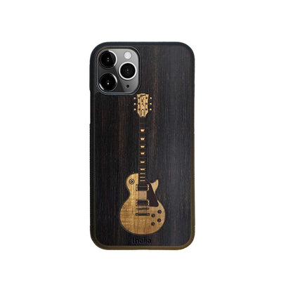 GibsonbyThalia Phone Case iPhone 11 Pro Black Ebony & Gibson Les Paul Hawaiian Koa Inlaid Guitar | Phone Case iPhone 11 Pro