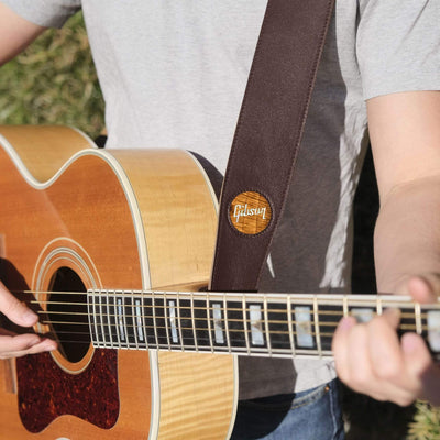 GibsonbyThalia Strap AAA Curly Hawaiian Koa & Gibson Pearl Logo Inlay | Italian Leather Strap