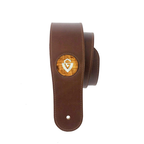 GuildbyThalia BF-Strap AAA Curly Hawaiian Koa & Guild Pearl G-Shield Italian Leather Strap | BLACK FRIDAY SPECIAL Black