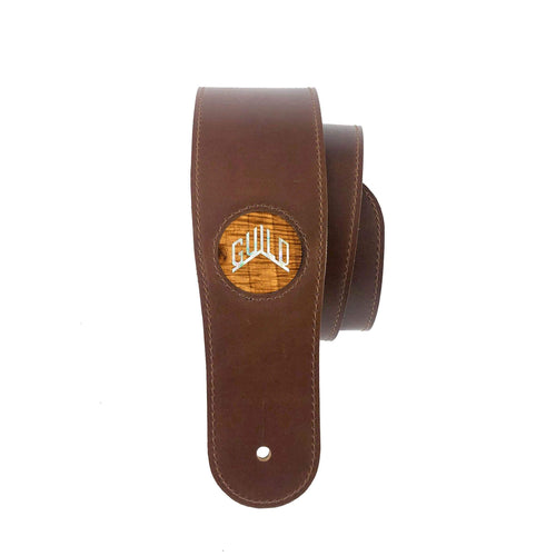GuildbyThalia BF-Strap AAA Curly Hawaiian Koa & Guild Pearl Logo Italian Leather Strap | BLACK FRIDAY SPECIAL
