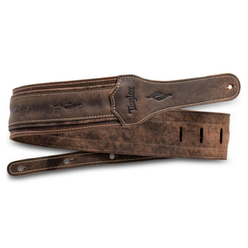 Taylor Strap Taylor Element | Distressed Leather Guitar Strap - Dark Brown 2.5""
