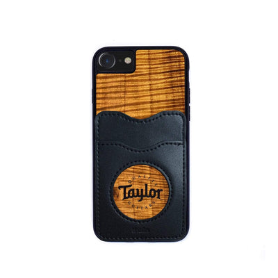 TaylorbyThalia Phone Case AAA Curly Hawaiian Koa & Taylor Logo Inked | Wallet Phone Case iPhone 11 Pro Max