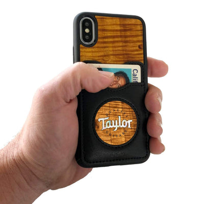 TaylorbyThalia Phone Case AAA Curly Hawaiian Koa & Taylor Pearl Logo | Wallet Phone Case iPhone 11 Pro Max