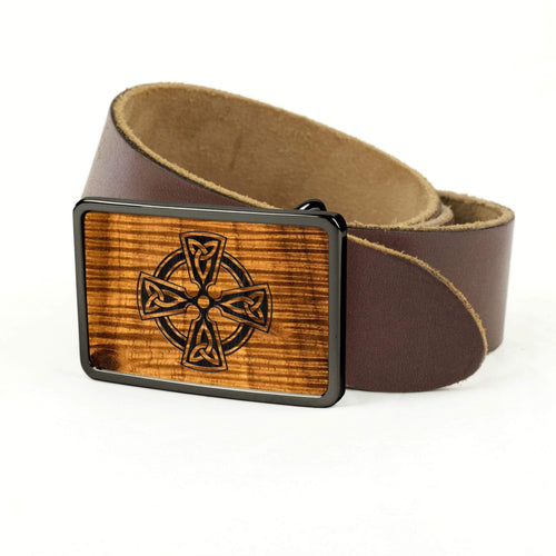 Thalia Belts AAA Curly Hawaiian Koa & Celtic Cross Engraving | Premium Leather Belt Black Chrome / Black / 32