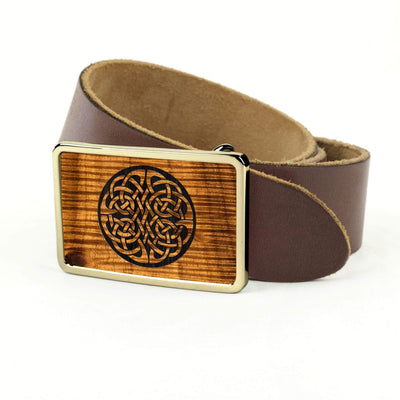 Thalia Belts AAA Curly Hawaiian Koa & Celtic Knot Engraving | Premium Leather Belt 24K Gold / Dark Brown / 32