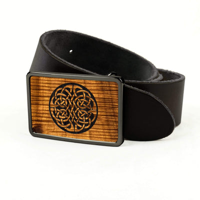 Thalia Belts AAA Curly Hawaiian Koa & Celtic Knot Engraving | Premium Leather Belt Black Chrome / Black / 32