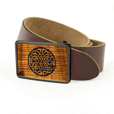 Thalia Belts AAA Curly Hawaiian Koa & Celtic Knot Engraving | Premium Leather Belt Black Chrome / Dark Brown / 32