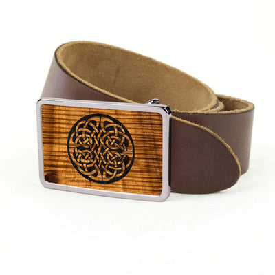 Thalia Belts AAA Curly Hawaiian Koa & Celtic Knot Engraving | Premium Leather Belt Chrome / Dark Brown / 32