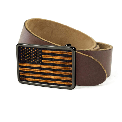 Thalia Belts AAA Curly Hawaiian Koa & Old Glory Engraving | Premium Leather Belt Black Chrome / Black / 32