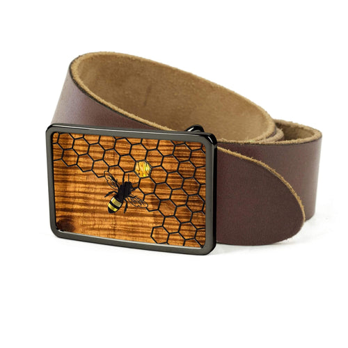 Thalia Belts AAA Curly Hawaiian Koa & Pearl Bee with Honeycomb Inlay | Premium Leather Belt Black Chrome / Black / 32