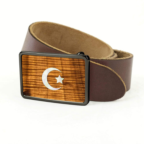 Thalia Belts AAA Curly Hawaiian Koa & Pearl Crescent Moon & Star Inlay | Premium Leather Belt Black Chrome / Black / 32