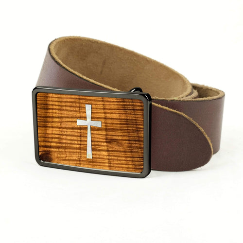 Thalia Belts AAA Curly Hawaiian Koa & Pearl CROSS Inlay | Premium Leather Belt Black Chrome / Black / 32